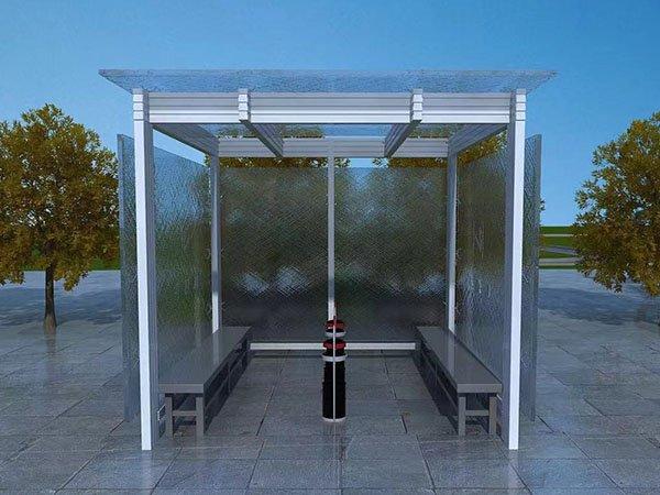室外广场不锈钢钢化玻璃透明式成品吸烟亭