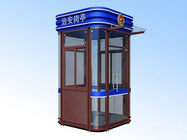 福州社区街道玻璃钢结构蓝色治安警务岗亭