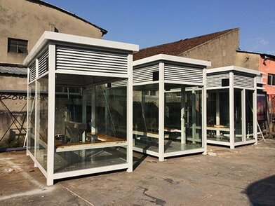 透明钢化玻璃正方形机场车站控烟吸烟亭