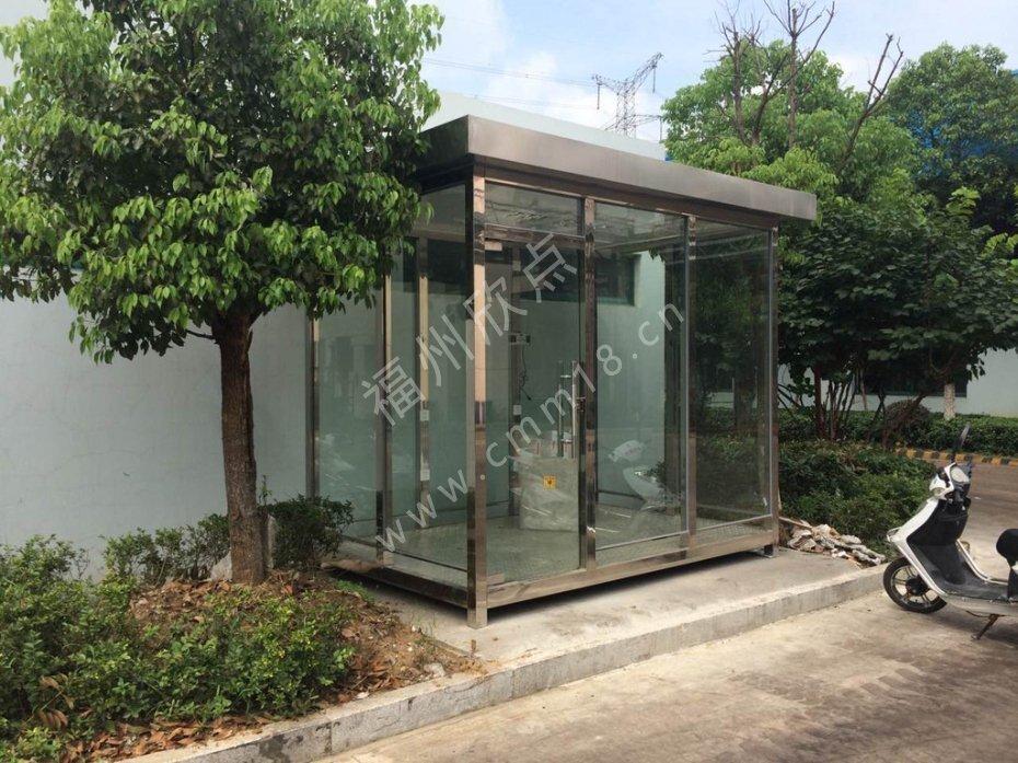 工业园区吸烟室设计定制/福州玻璃吸烟亭生产安装厂家