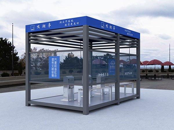 不锈钢厂区吸烟亭/成品不锈钢吸烟休息岗亭