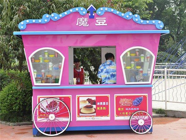 创意主题公园街道造型便民售货亭 美食街可移动式售卖车