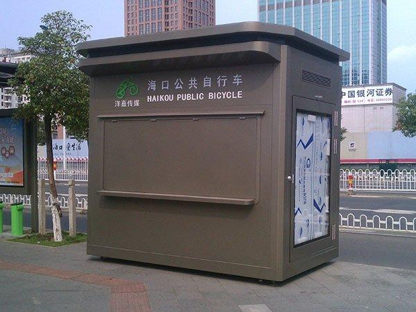 海口公共自行车停车点钢结构岗亭 公园仿腐木可移动售货车